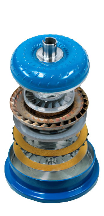 The inside of a torque converter; all the parts of a torque converter.